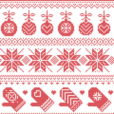 Scandinavian Nordic seamless Christmas pattern  Illustration