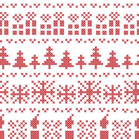 punto cruz: Patr�n de punto de cruz n�rdica Navidad