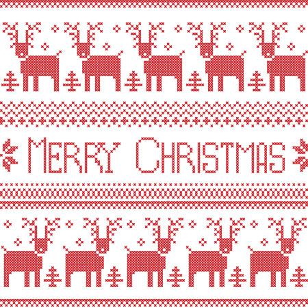 北欧風ノルディック柄のメリー クリスマス