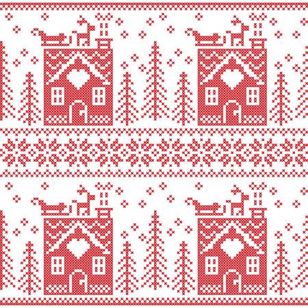 christmas cross: Scandinavian Nordic Christmas seamless  pattern