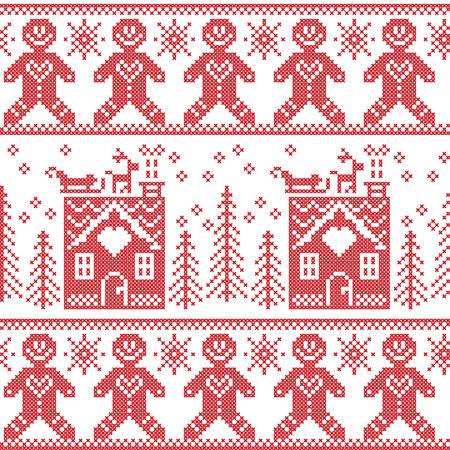 スカンジナビア北欧クリスマスのシームレス パターン  イラスト・ベクター素材