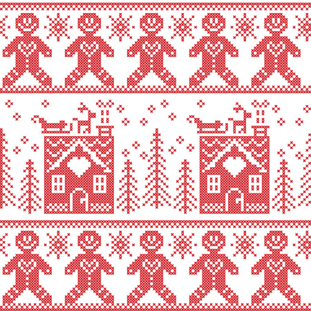 Scandinavian Nordic Christmas  seamless pattern