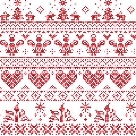 punto cruz: Modelo de la puntada de Navidad nórdica cruz perfecta escandinava Vectores
