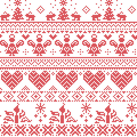 christmas angels: Scandinavian Nordic Christmas seamless cross stitch pattern