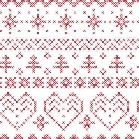 stitching: Xmas seamless  pattern inspired by nordic stitching  cross patterns Illustration