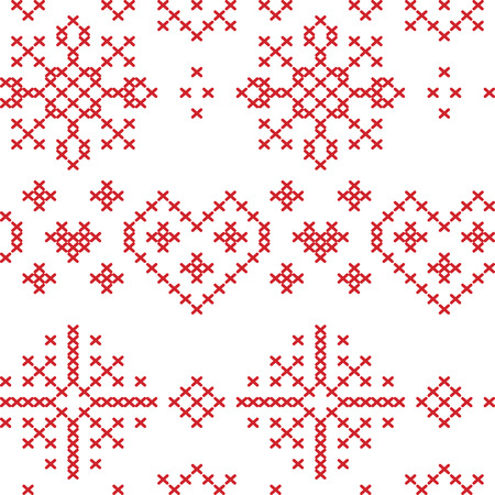 Xmas seamless nordic  pattern with stars snowflakes hearts