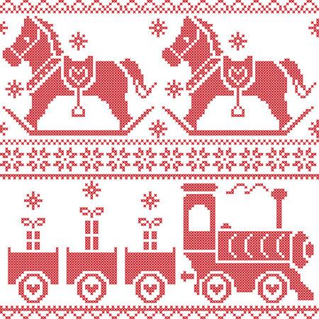 Scandinavian seamless nordic christmas  pattern  Illustration