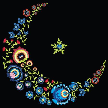 검은 색 바탕에 달과 별 모양의 폴란드 민속 꽃 무늬