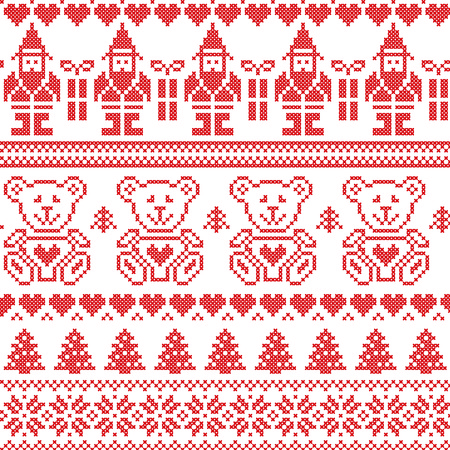 Scandinavian inspired Nordic xmas seamless pattern Ilustrace