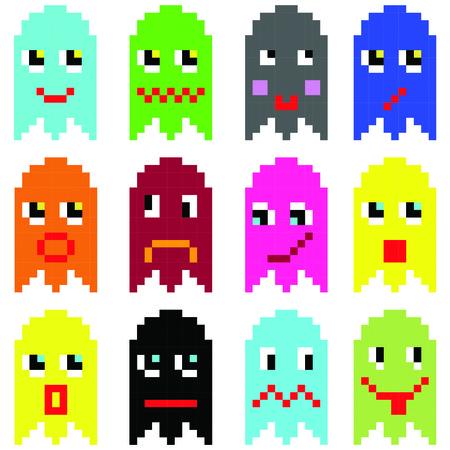게재 90의 빈티지 비디오 컴퓨터 게임에서 영감을 픽셀 화 이모티콘은 감정을 다양