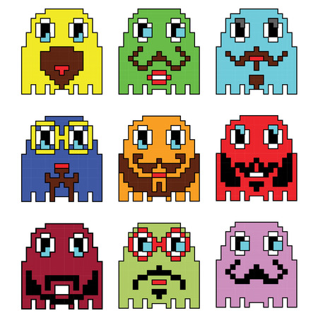 computer games: Pixelated Hipster emoticons  inspired  by 90s vintage video computer  games showing vary emotions with stroke