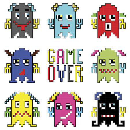 Pixelated robot emoticons with game over sign inspired by 90s computer games showing different emotions