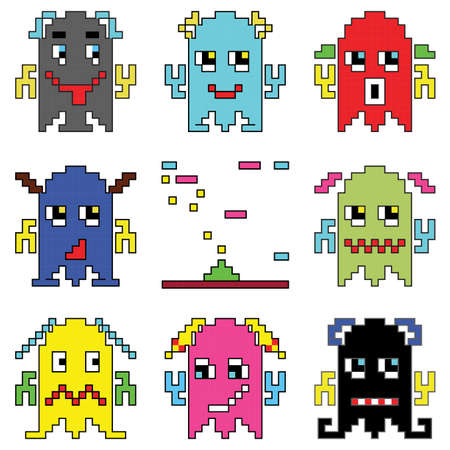 space invaders game: Pixelated robot emoticons 1 shooting spaceship element inspired by 90s computer games showing different emotions Illustration