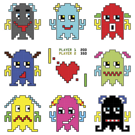 space invaders game: Pixelated robot emoticons 1 shooting  heart shape element inspired by 90s computer games showing different emotions