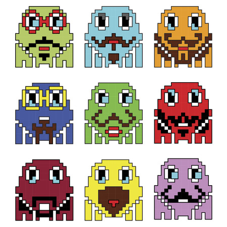 90s: Pixelated robot Hipster 2 emoticons  inspired  by 90s vintage video computer  games showing vary emotions with stroke