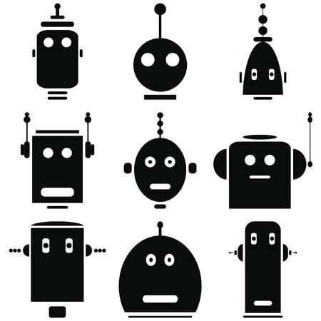 tin: Vintage retro robots heads icons set in black and white