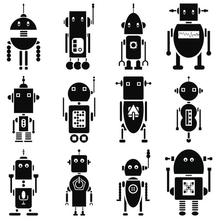 Vintage retro robots  2 icons set in black and white 일러스트