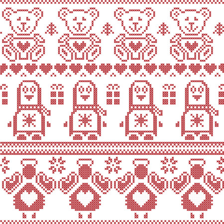 red cross red bird: Scandinavian vintage Christmas  Nordic seamless pattern with penguin, angel, teddy bear, xmas gifts, hearts, decorative ornaments, christmas trees in red cross stitch