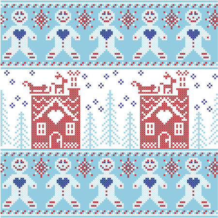 christmas cross: Light blue, dark blue and red Scandinavian Nordic Christmas  seamless pattern with gingerbread man , stars, snowflakes, ginger house, trees, xmas  gifts, reindeer, sleigh, snow in cross stitch