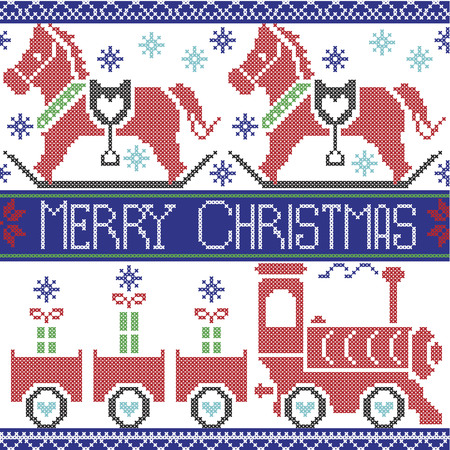 gravy: Dark blue, red , light blue, black , red and green Merry Christmas Scandinavian seamless Nordic pattern with gravy train, Xmas gifts, hearts, rocking  pony horse, stars, snowflakes in cross stitch