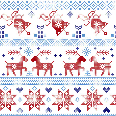 Dark and light blue and red  Scnadinavian Christmas  cross stitch pattern including reindeer, snowflake, star, Xmas tree, bell, presents in scandinavian style cross stitch 向量圖像