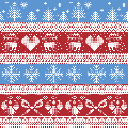 christmas cross: Blue and red Nordic Christmas winter  pattern with reindeer,rabbits, Xmas trees, angels, bow in Scandinavian style cross stitch