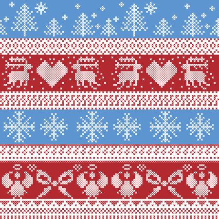punto cruz: Modelo azul y rojo de invierno n�rdico Navidad con renos, conejos, �rboles de Navidad, �ngeles, arco de estilo escandinavo en punto de cruz