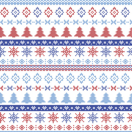 Dark and light blue and red Christmas Nordic pattern with snowflakes, trees ,  xmas trees and decorative ornaments in scandinavian knitted cross stitch Illustration