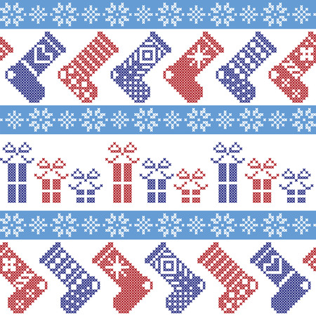 christmas stockings: Dark blue, light blue and red Nordic Christmas pattern with stockings, stars, snowflakes, presents, decorative ornaments in scandinavian cross knitted cross stitch
