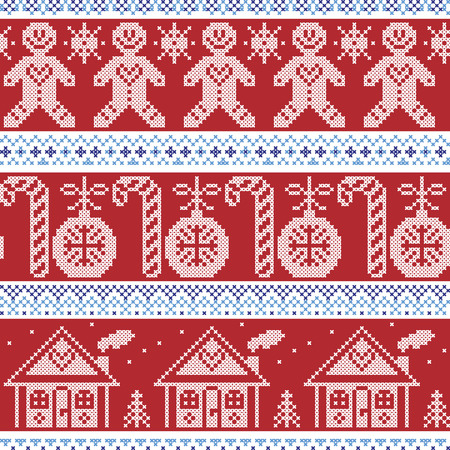 gingerbread house: Dark blue, light blue and red Scandinavian nordic seamless pattern with gingerbread man, xmas candy candy cane, gingerbread house, xmas trees, heart, baubles, stars, snowflakes in cross stitch