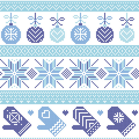 snowflake: Scandinavian Nordic seamless Christmas pattern with Xmas baubles, gloves, stars, snowflakes, Xmas ornaments, snow element, hearts in three shades of blue cross stitch knitting Illustration