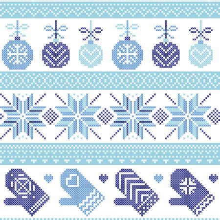 schneeflocke: Skandinavische Nordic nahtlose Weihnachten Muster mit Weihnachtskugeln, Handschuhe, Sterne, Schneeflocken, Weihnachtsverzierungen, Schnee Element, Herzen in drei Schattierungen von Blau Kreuzstich Stricken