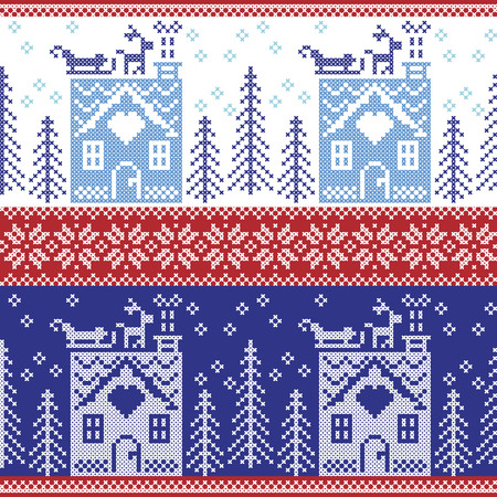 santas sleigh: Scandinavian Nordic Christmas seamless  pattern with gingerbread house, snow, reindeer, Santas  sleigh, trees, star, snow, Xmas gift, snowflakes in dark and light blue cross stitch Illustration