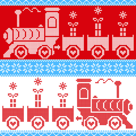 gravy: Blue, red and white Scandinavian Christmas Nordic Seamless Pattern with gravy train, gifts, stars, snowflakes, hearts, snow, in cross stitch pattern Illustration