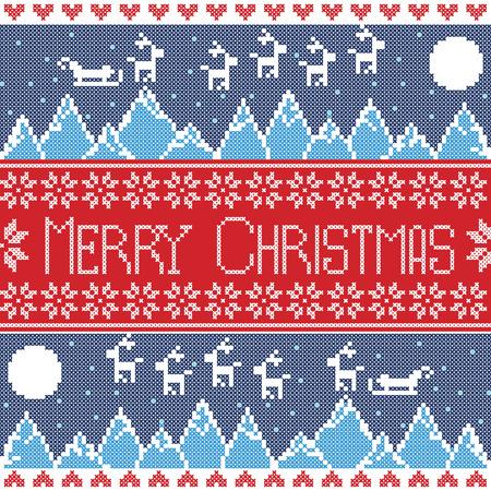 papa noel en trineo: Azul, azul Feliz Navidad escandinavos rojas y oscuras sin patr�n n�rdico con vistas a la monta�a de invierno, renos, estrellas, copos de nieve, corazones, trineo, la luna, la nieve En el estilo noruego de punto de cruz