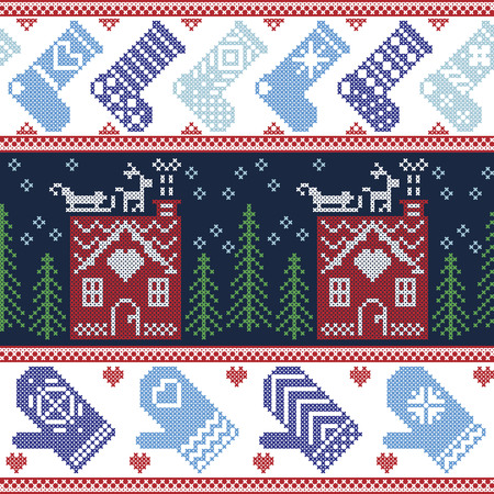 ginger bread: Scandinavian Nordic Christmas seamless pattern with ginger bread house, stockings, gloves, reindeer, snow, snowflakes, tree, Xmas ornaments in red, blue, green  cross stitch
