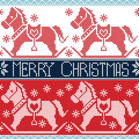 gravy: Light and dark blue , red Merry Christmas Scandinavian seamless Nordic pattern with  rocking dala pony horses, stars, snowflakes in cross stitch knitting