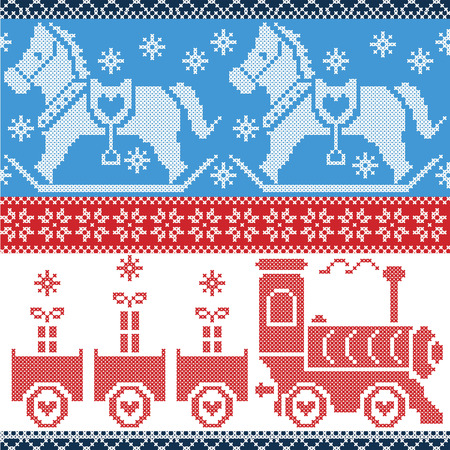 gravy: Blue , red , and white  Scandinavian seamless Nordic pattern with gravy train, Xmas gifts, hearts, rocking  pony horse, stars, snowflakes in red cross stitch