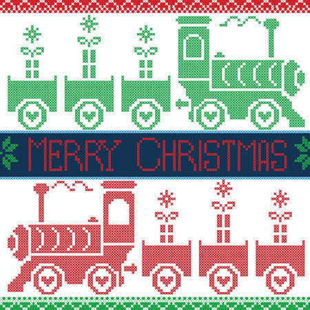 scandinavian christmas: Dark blue, red and green Merry Xmas  Scandinavian Christmas Nordic Seamless Pattern with gravy train, gifts, stars, snowflakes, hearts, snow, in cross stitch pattern Illustration