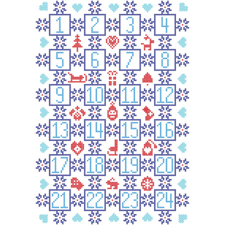 dark angel: Dark, light blue and red Scandinavian inspired by Nordic Christmas advent calendar with decorative elements such as snowflakes, decorative ornaments, bauble reindeer, sleigh, Santa, skate, heart, winter hat, glove, tree, angel, stocking,  bell
