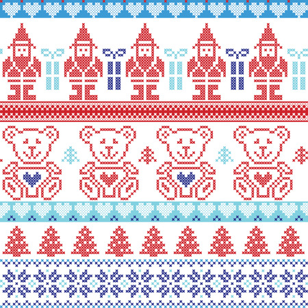 dark elf: Dark and light blue , red Scandinavian inspired Nordic xmas seamless pattern with elf, stars, teddy bears, snow,christmas  trees, snowflakes, stars, snow, decorative ornaments  in red cross stitch