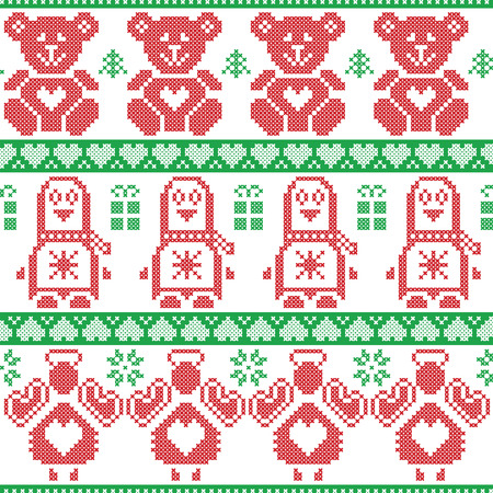 red cross red bird: Red and green Scandinavian vintage Christmas  Nordic seamless pattern with penguin, angel, teddy bear, xmas gifts, hearts, decorative ornaments, christmas trees in cross stitch knitting Illustration