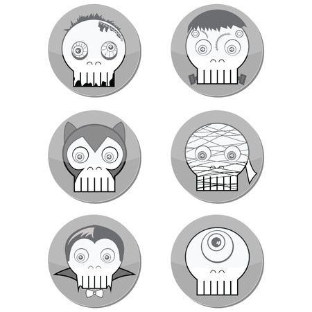 cyclops: Black and white Halloween Monster  skulls such as  vampire, zombie, Woolf man, cyclops and mummy in button form with a shadow element Illustration