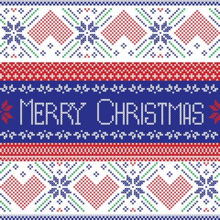 cruz roja: Escandinavo oscuro patrón transparente azul, rojo y verde Feliz Navidad en estilo nórdico de punto de cruz estilo que hace punto con corazones, flores y adornos decorativos