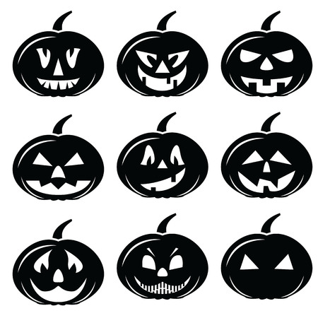 Scary Halloween pumpkins characters icons set 向量圖像