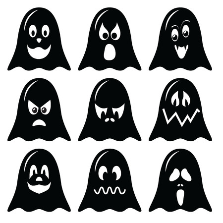 halloween scary: Scary Halloween  ghosts  characters icons set in black and white
