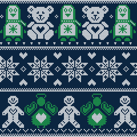 teddy: Scandinavian Christmas winter pattern with Penguins, teddy bears, angels, gingerbread man, decorative flowers and ornaments  in Norwegian style cross stitch on dark blue background