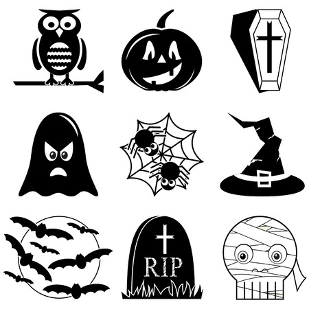 horror house: Halloween icons set in black and white including owl, pumpkin, coffin with cross,  ghost, spider on spider web, witch hat with buckle, moon with flying bats,  tomb RIP, and mummy skull