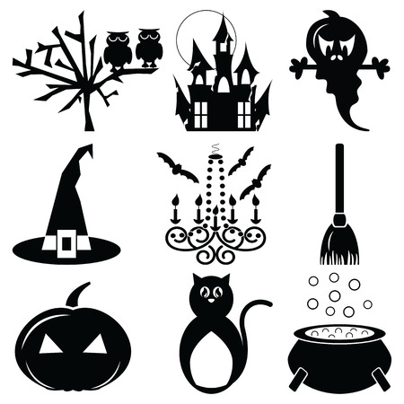 flying hat: Halloween icons set 2 in black  white including owl,spooky tree, pumpkin, hunted castle ruins  full moon, chandelier with candles  flying bats, witch hat with buckle, scary cat, boiler and broom