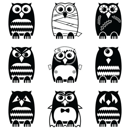 cyclops: scary, spooky, mummy, cyclops, vampire. Monster, zombie owls